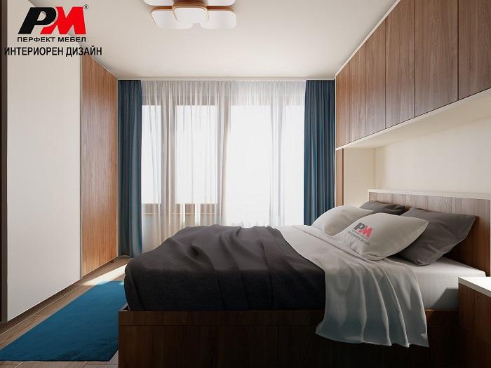 Уют и стил в интериорен проект на спалня в сини тонове и дървесни елементи