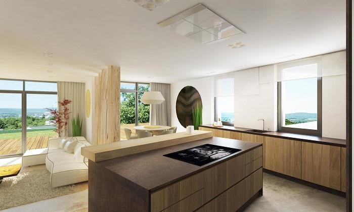 Интериор кухня с трапезария в съвременен стил