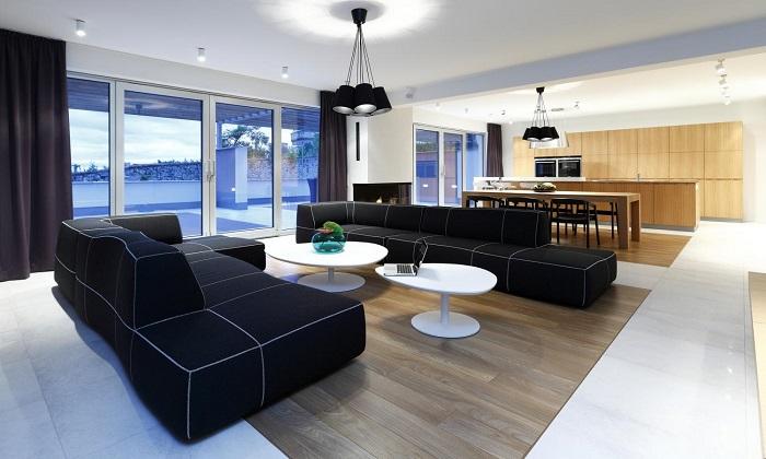 Стил и удобство с интериор обединяващ две помещения