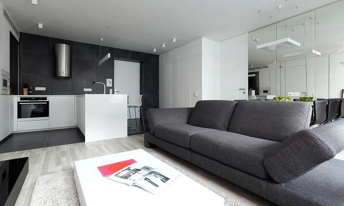 Съвременен интериорен дизайн дневна с кухня