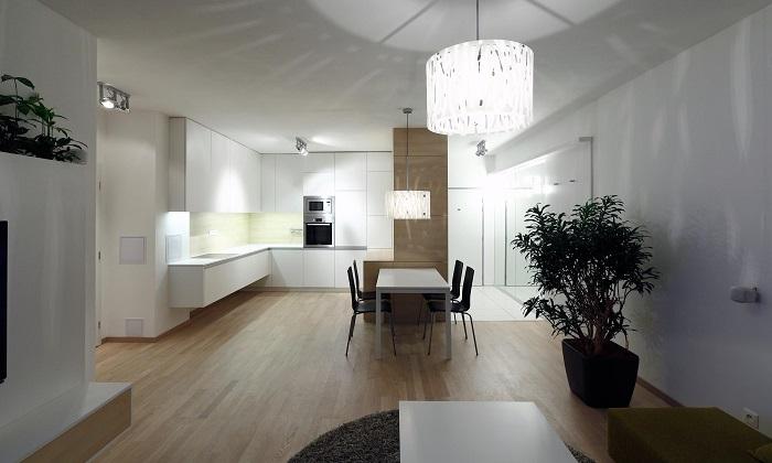 Модерен интериор дневна и кухня с трапецария