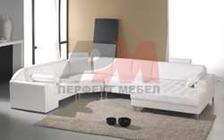 мека мебел в бяла еко кожа