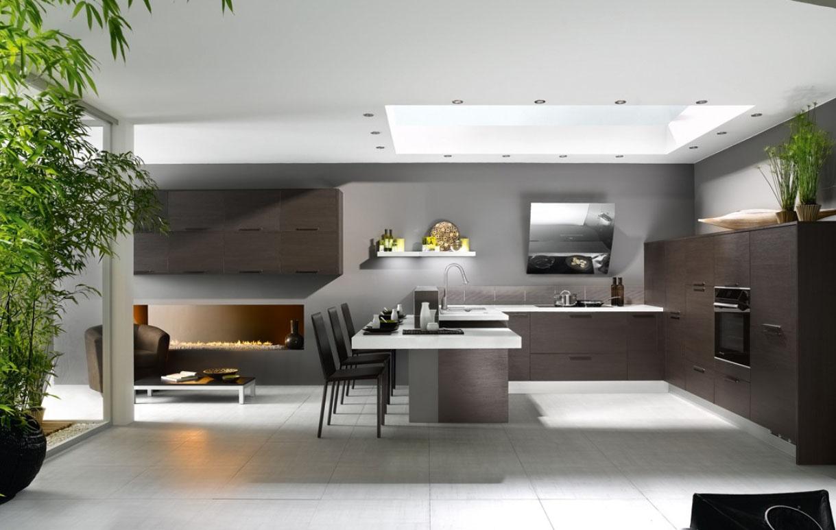 Интериорен проект за кухня с дневна в съвременен минималистичен стил