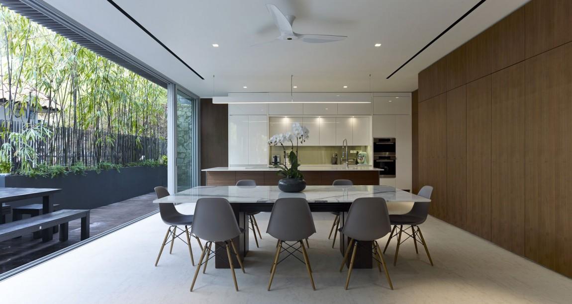 Красива дневна и кухня в модерен изчистен стил