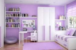 Детска стая в бяло и лилаво