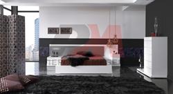 Луксозна спалня МДФ бял гланц