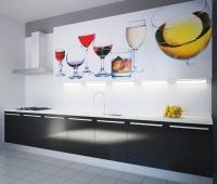 Права кухня комбинация ПДЧ и принт стъкло