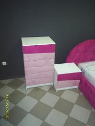 Скрин и нощно шкафче с тапицерия