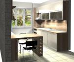 Кухня от пдч в дървесен декор и ванилия