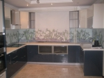Прокет на кухня в тъмно син МДФ гланц