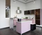 Кухня по поръчка с бар МДФ розов гланц