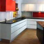Кухня по поръчка в бял и червен МДФ мат