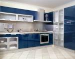 Кухня по поръчка в синьо МДФ гланц