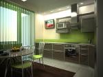 Права кухня по поръчка ПДЧ антрацит и зелено