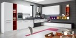 Кухня по поръчка червено и бяло МДФ мат