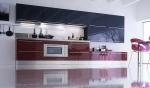 Проект на кухня в лилаво и антрацит МДФ гланц