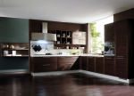 Кухненски мебели по поръчка цвят тъмен орех