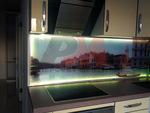 Мебели за кухня с принт стъкло