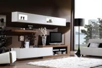 мебели за дневна в бяло и венге