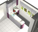 Кухня в розово и бар с вградени уреди София
