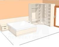 Легло с ъглов гардероб