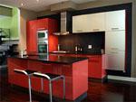 Кухня в червено гланц