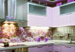 Ъглова кухня по поръчка розова МДФ гланц