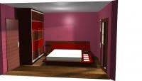 Спален комплект венге и червено