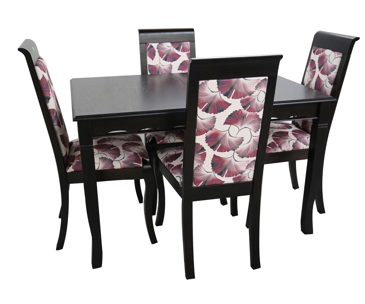 Комплект трапезна маса със столове 4 боря - 90/140+40/75 см.