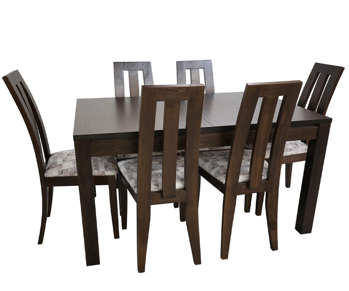 Комплект разтегателна трапезна маса с 6 стола ТРОН - 80 см./120 + 40 см./ 75см.