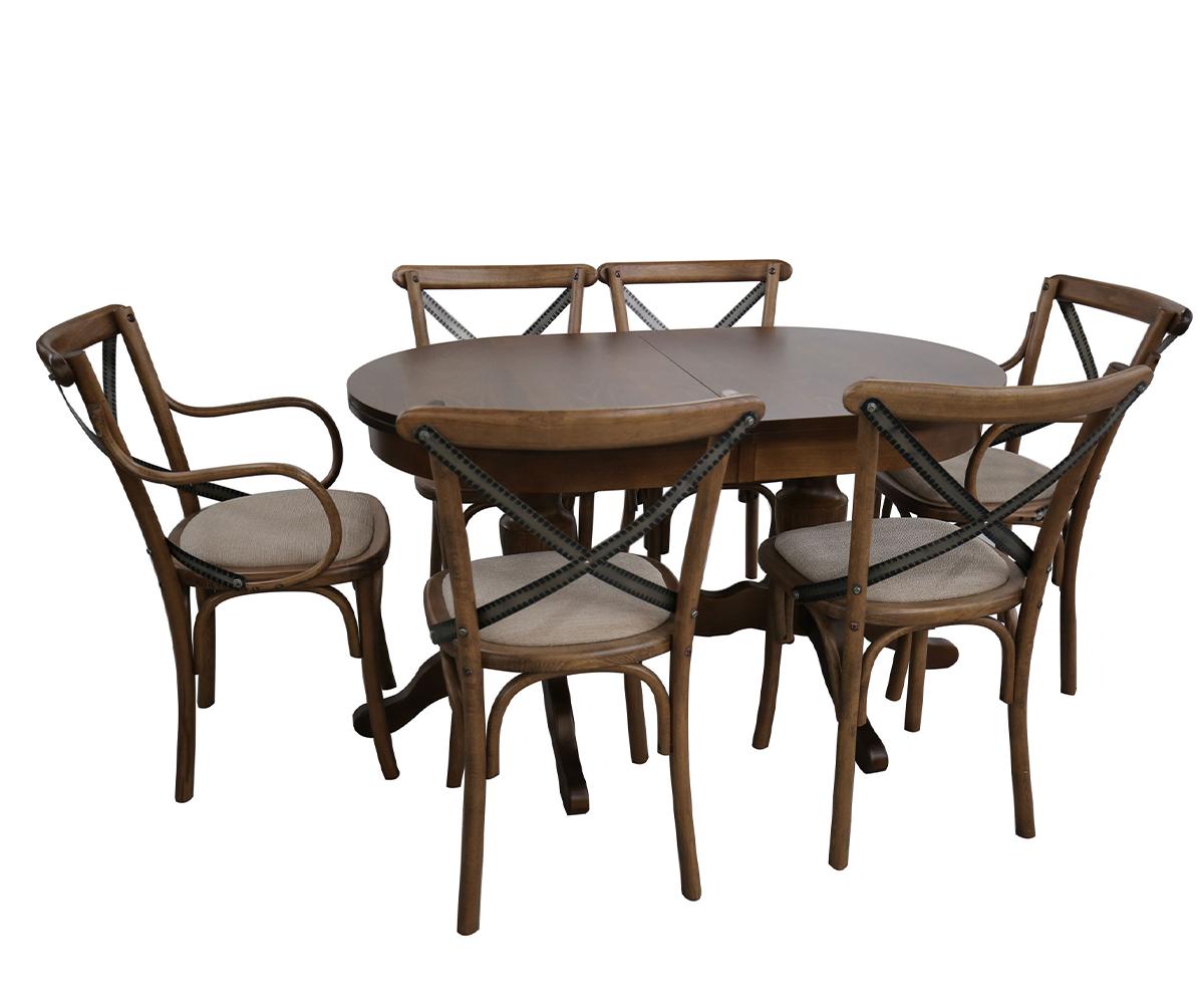Комплект разтегателна трапезна маса с 6 стола ВИДИМА - СТИЛ 80 см./130 + 40 см./ 75см.