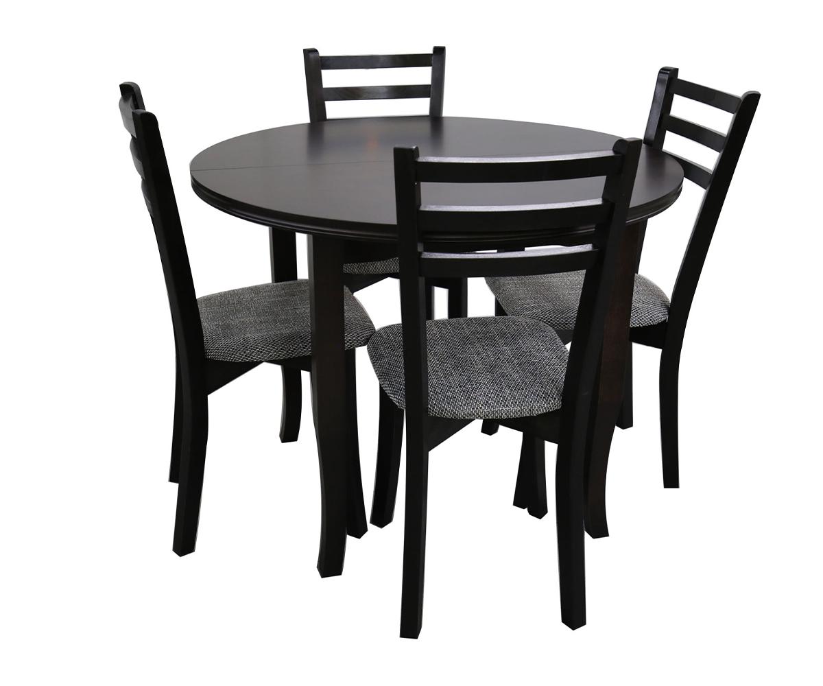 Разтегателна кръгла маса за трапезария с четири стола ИВА /ф 100 + 30 см./75см.