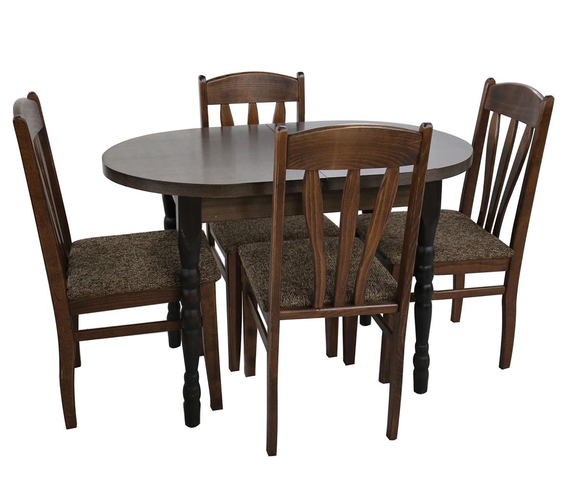 Комплект за трапезария маса с 4 стола ЕЛИПСА 80 см./120 + 30 см./ 75см.