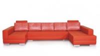 Червен диван с два ъгъла