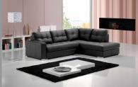 Черен кожен ъглов диван