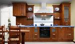 луксозни  прави кухни масив орех с плавни механизми