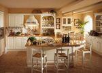 висококачествени бежови кухни масив с бар магазин