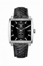 MONACO Automatic Black Python Diamonds
