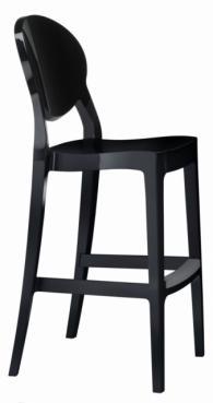 Дизайнерски бар стол с облегалка в черно