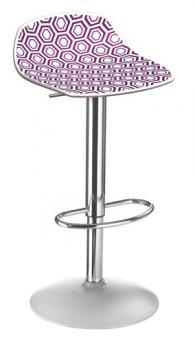 Бар стол с амортисьор в бяло и виолетово