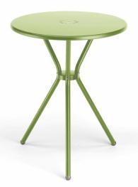 Кръгла метална маса в светло зелено