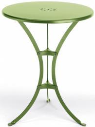 Елегантна метална кръгла маса в светло зелено