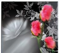 Верзалитов плот за маса черен с цветя