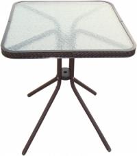 Квадратна ратанова маса със стъклен плот,кафяв