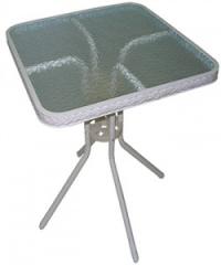 Квадратна ратанова маса,стъклен плот,бял