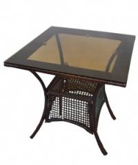 Кафява ратанова маса,стъклен квадратен плот