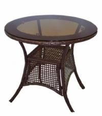 Кафява ратанова маса,стъклен кръгъл плот 75см.