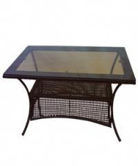 Правоъгълна маса кафяв ратан,150 см.,стъклен плот