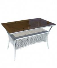 Правоъгълна маса,бял ратан,стъклен плот,150 см.