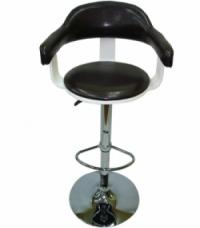 Дъвен бар стол,тапициран с облегалка,черно/бяло